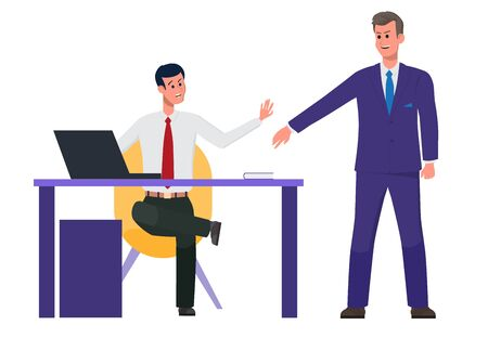 Workplace. A businessman works on a computer. An office team colleague came up to talk on business. Teamwork is productive and profitable. Flat vector illustration. Ilustração
