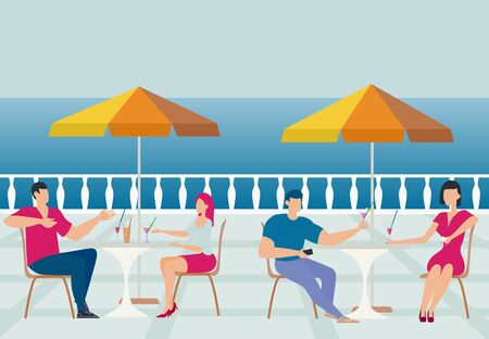 Summer day. Cafe by the sea. Men and women sit at tables and drink cocktails. Good mood, pleasant acquaintance. Tables, sun umbrellas, seashore. Flat illustration.