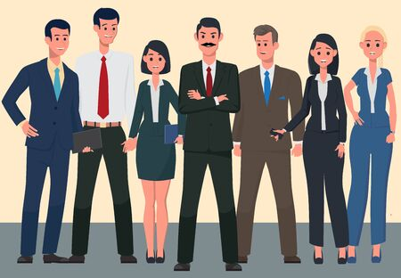 Team of cute cheerful men and women employees or colleagues. Office workers. A friendly team of like-minded people. Colorful vector illustration in flat cartoon style.