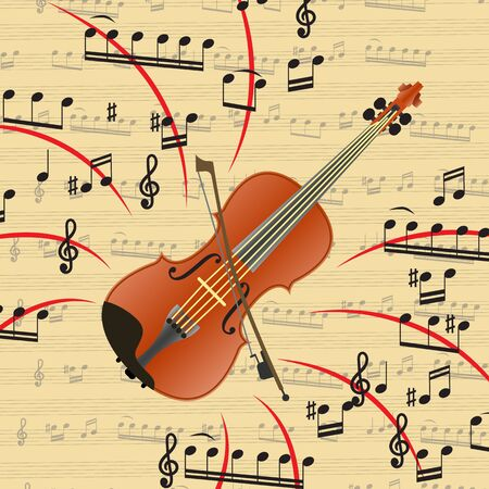 The violin is a bowed musical instrument. Art is an important part of human life. Violin is beautiful music and exciting melodies. Vector illustration. Фото со стока - 129898618