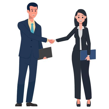 Businesswomen and businessman rejoice at success. Victory came after hard and long work. Man and woman in office suits with work tablets. Vector illustration in a flat style.