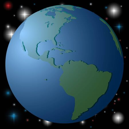 A simple, schematic image of the globe. Continents and the ocean, global concept. Vector image.