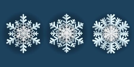 Snowflake winter vintage. Frozen water crystals grow together into a hexagonal crystal. Symbol of cold winter, christmas, holiday and cheerful mood. Vector illustration. Çizim
