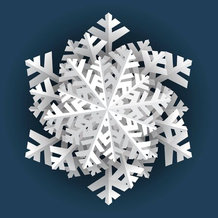 Snowflake winter vintage. Frozen water crystals grow together into a hexagonal crystal. Symbol of cold winter, christmas, holiday and cheerful mood. Vector illustration. Ilustracja