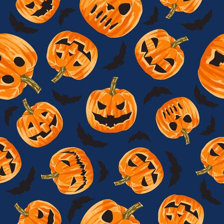 Seamless pattern of scary big-eyed and toothy pumpkins. A holiday for which pumpkins are made of scary symbols of fear and horror. Big teeth and eyes are carved in a pumpkin. Seamless illustration.
