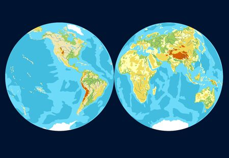 Vector map of the world. Oceans and continents on a flat projection. The globe on the plane. Vector illustration