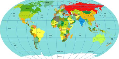 Vector map of the world. A political map of the World. Countries located on different continents are highlighted in different colors. Oceans and continents on a flat projection. Vector illustration Çizim
