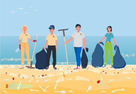 Young people collect plastic trash. Uncultured people throw bottles, spoons, forks, plates. The struggle for purity of nature and ecology is the business of young and energetic girls and guys. Ilustração