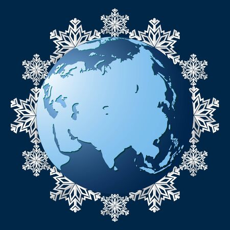 Planet Earth on a background of snowflakes, a symbol of the coming winter. The onset of the cold season. Snowfall and cold season. Vector illustration.