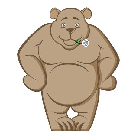 Hefty smiling bear with a flower in his teeth. A large, powerful beast, cheerfully tuned, not angry, good-natured. Vector illustration