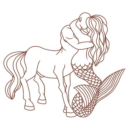 The mermaid and the centaur fell in love. Mythical love Fans of magic. Love of representatives of different elements. There are no barriers to true feelings. Vector illustration. Ilustração