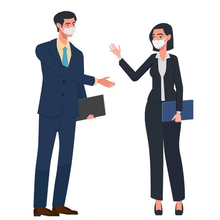 Business woman and businessman rejoice in success. Victory came after hard and long work. Both in protective masks. The fight against coronovirus. Vector illustration in a flat style.