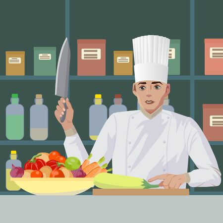 The cook prepares tasty and healthy dishes from vegetables. Tasty and healthy food. Benefits to the body. Health and strength. Vector illustration.