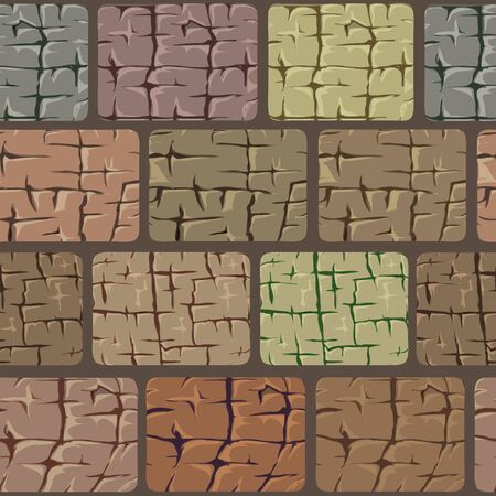 Masonry walls made of large stones. Strong reliable wall, high and durable. Stone to stone, the gap is poured with concrete mortar, very durable and solid. Vector geometric seamless pattern. Ilustração Vetorial