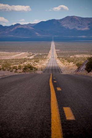 long: Long Empty Desert Road Stock Photo