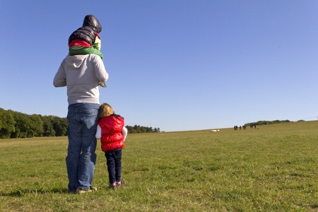 Family is watching sheep on the meadow Stock Photo - 11476852