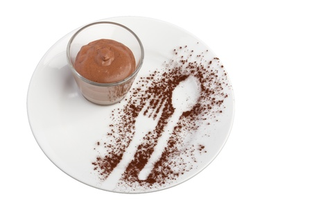 mousse: Mousse au chocolat arranged on a plate