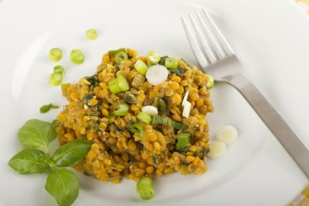 Lentil salad on a white plate