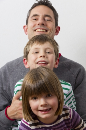 Father wiht his kids Stock Photo