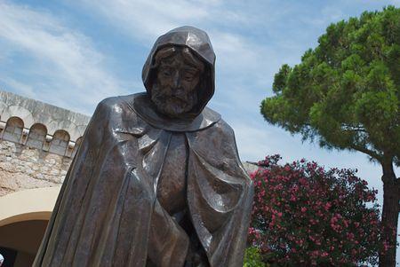 Monument van monnik ing van Monaco in 1297 met afbeelding Stockfoto