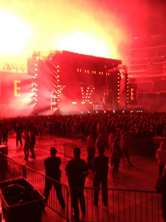 Taylor swift concert firework finale. Breathtaking moment at the end of a perfect show.