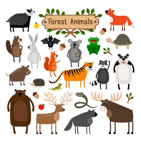 zoo amphibian: Set of cartoon wild animals