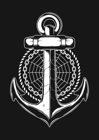Anchor with rope, chain, and cobweb. Vector Illustration