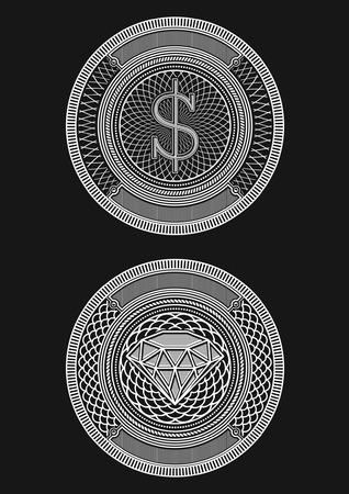 decorative background: Decorative Circle Illustration of Money and Diamond.  Illustration