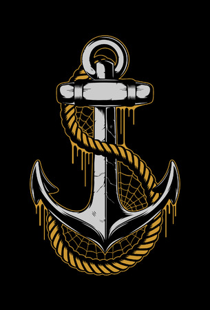 Anchor with rope and cobweb. Vector Illustration Ilustrace
