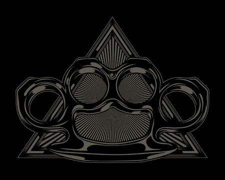 真鍮ナックルと三角形の図。ベクトル図  イラスト・ベクター素材