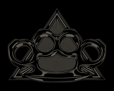 Brass Knuckle and triangle Illustration. Vector Illustration