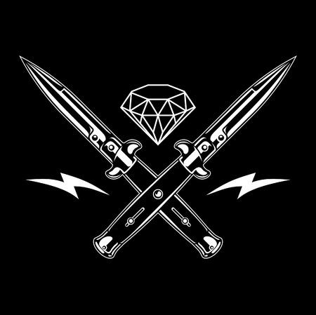 Switchblade knife and diamond, Vector Illustration