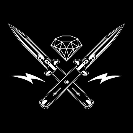 Switchblade knife and diamond, Vector Illustration