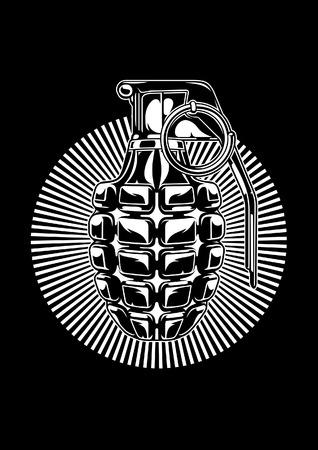 Illustration of MK 2 hand grenade. Vector Illustration Illustration