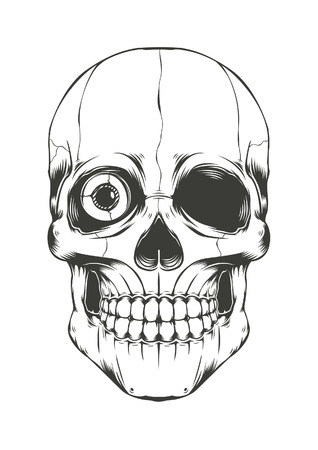 death: Illustration of Skull with one eye. Vector Illustration