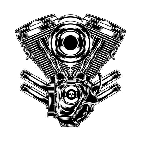 motors: Illustration of motorcycle engine in chrome look. Suitable for graphic element, apparel, and other design needs. Non-Layered