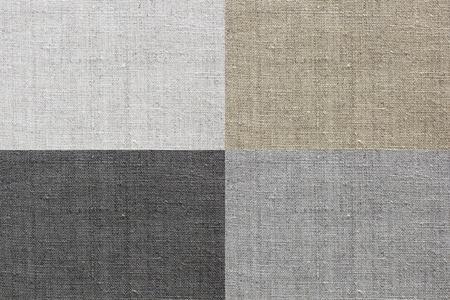 white linen: blanco, gris, marr�n y la textura natural de lino negro para el fondo Foto de archivo
