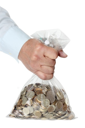 a lot of coins in a bag, russian ruble photo