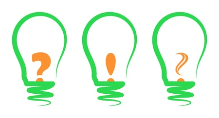 exclamation mark: concept, symbolizing the light bulb and choice of bulb