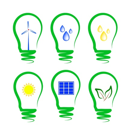 ahorro energia: concepto, que simbolizan los diferentes tipos de energía alternativa