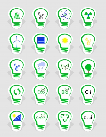 icons, symbolizing the different types of energy   Vector