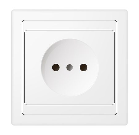 receptacle: electric power receptacle over white