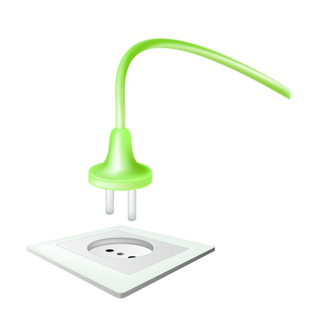 receptacle: electric power receptacle and plug over white