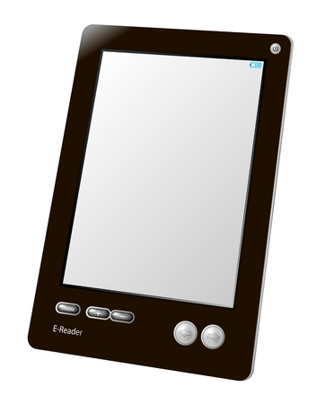 e-book reader device, close up, isolated Illustration