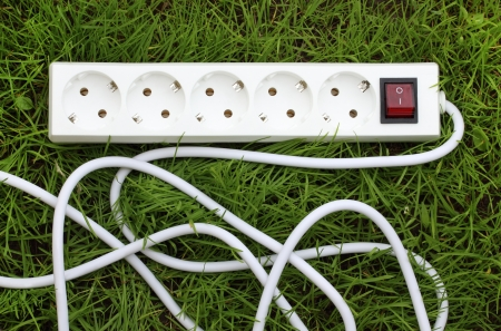 receptacle: electric power receptacle and plug on the grass