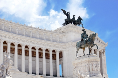 bas: Monument Vittorio Emanuele II or Altar of the Fatherland in Roma, Italia  Stock Photo