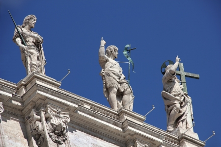 lofty: sculpture on the roof of the St. Peters Basilica, Vatican