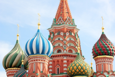 dome of the St Basils cathedral on Red Square in Moscow photo