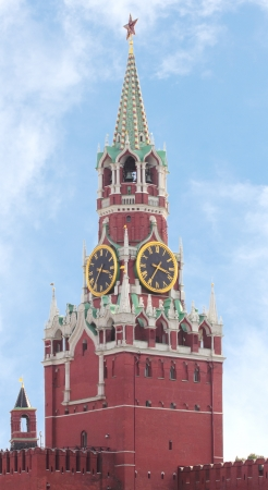 Moscow Kremlin. Spasskaya tower with a red star on a top of it and with a clock photo