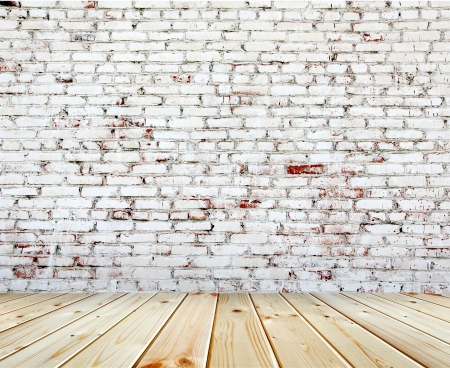 Old brick wall with white and red bricks photo